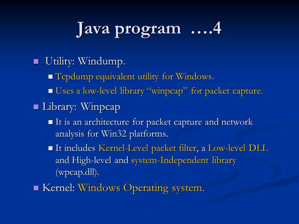Java program ….4 Utility: Windump. Library: Winpcap