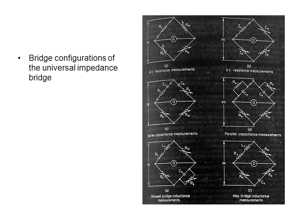 Bridge configurations of the universal impedance bridge