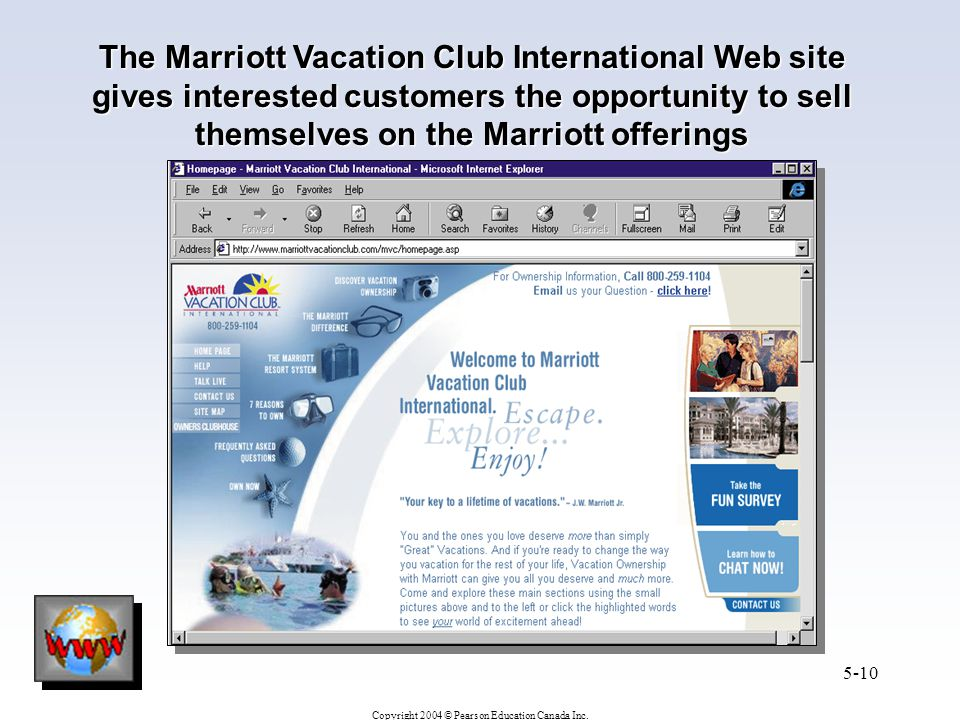 The Marriott Vacation Club International Web site gives interested customers the opportunity to sell themselves on the Marriott offerings
