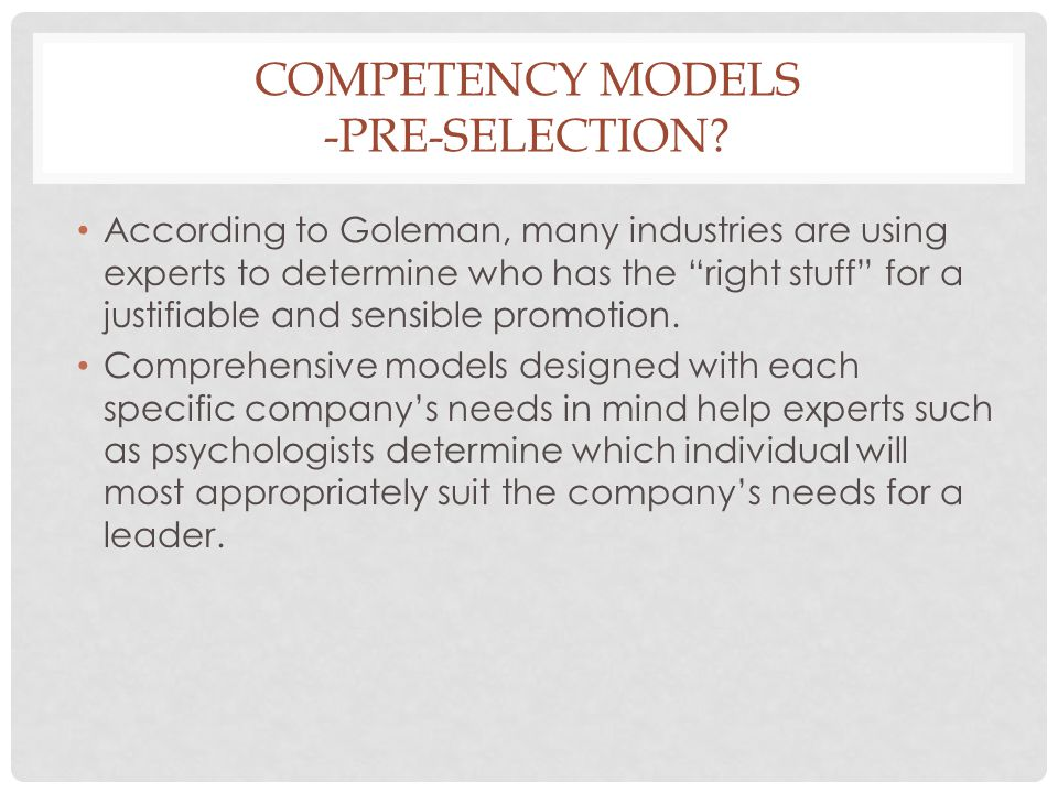 Competency models -pre-selection