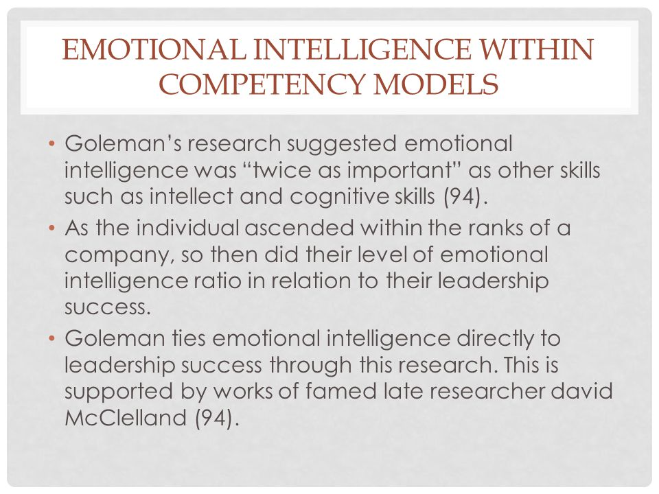Emotional intelligence within competency models