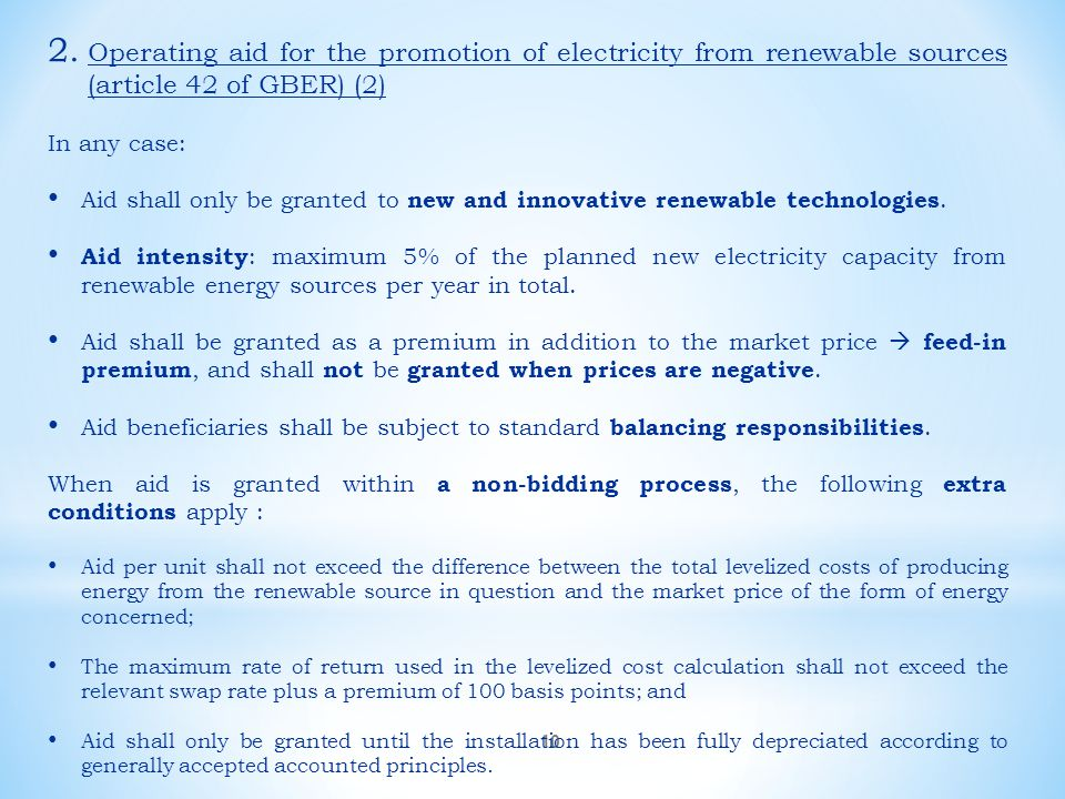 Operating aid for the promotion of electricity from renewable sources (article 42 of GBER) (2)