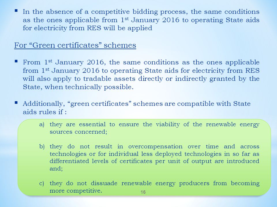 For Green certificates schemes