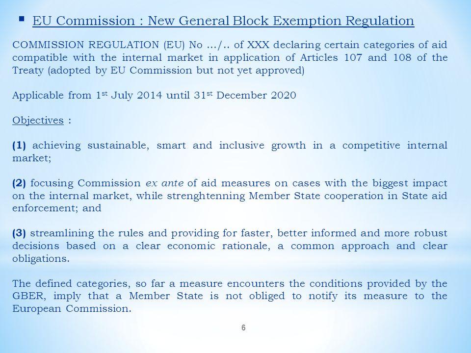 EU Commission : New General Block Exemption Regulation