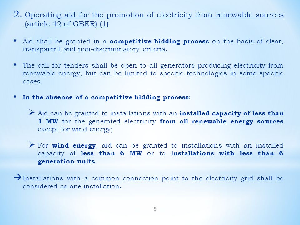 Operating aid for the promotion of electricity from renewable sources (article 42 of GBER) (1)
