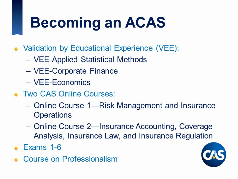 Becoming an ACAS Validation by Educational Experience (VEE):