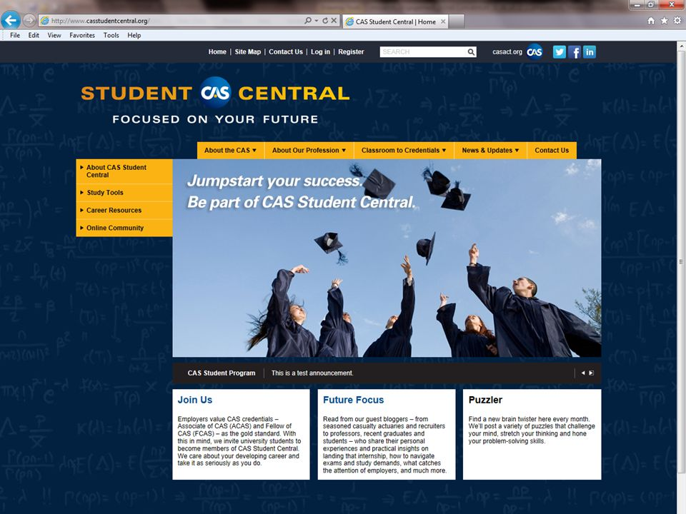 CAS has created a new website to support the new student member program, which you can access at CASstudentcentral.org