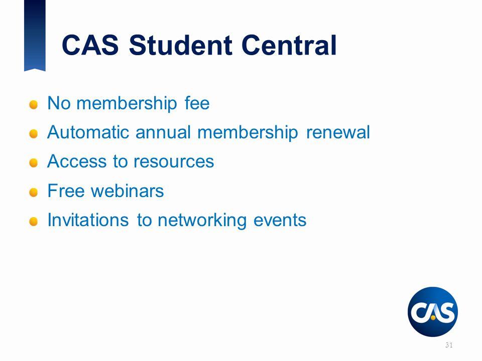CAS Student Central No membership fee