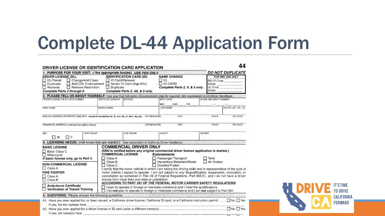 Complete DL-44 Application Form