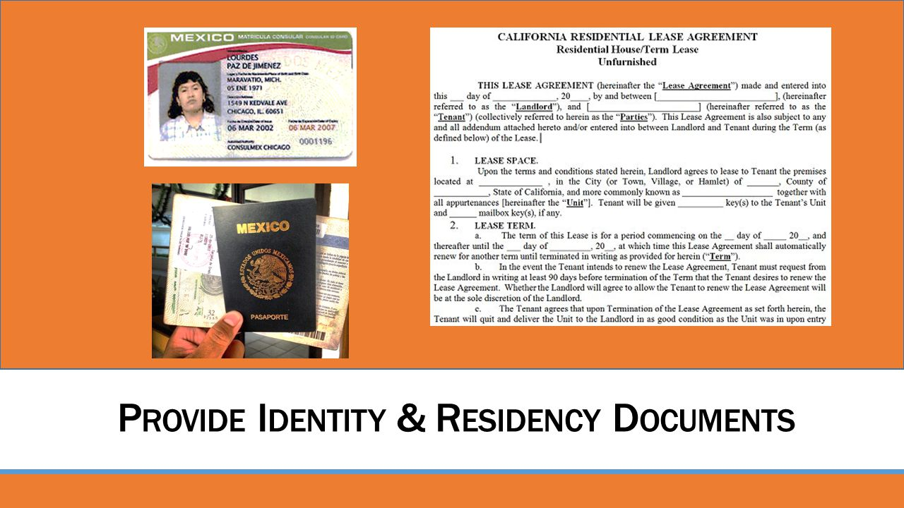 Provide Identity & Residency Documents