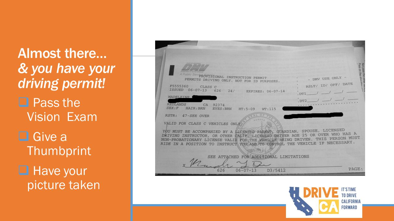 Almost there… & you have your driving permit!