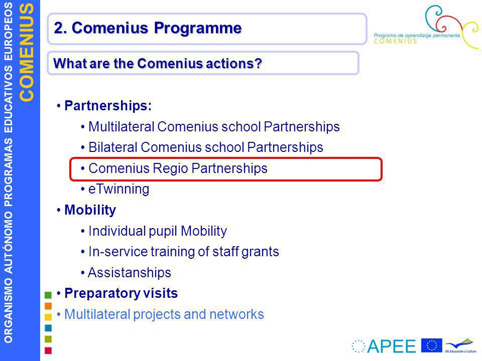2. Comenius Programme What are the Comenius actions Partnerships: