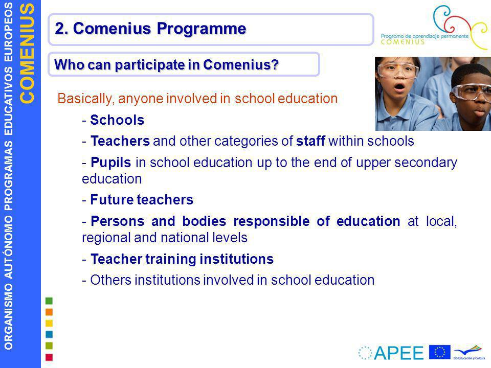 2. Comenius Programme Who can participate in Comenius