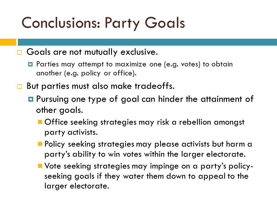 Conclusions: Party Goals