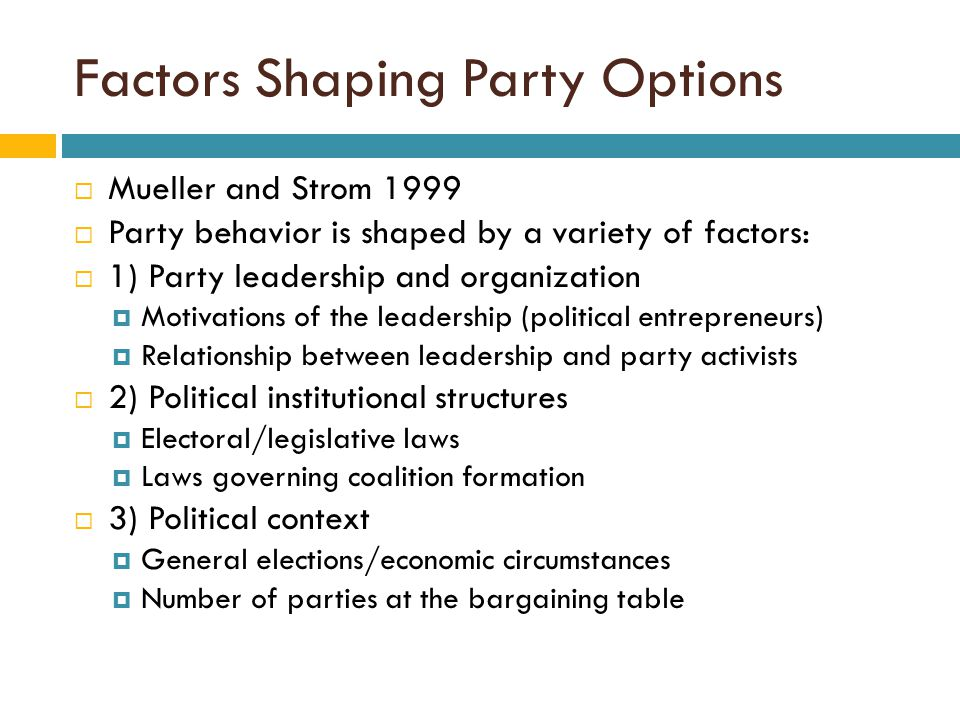Factors Shaping Party Options