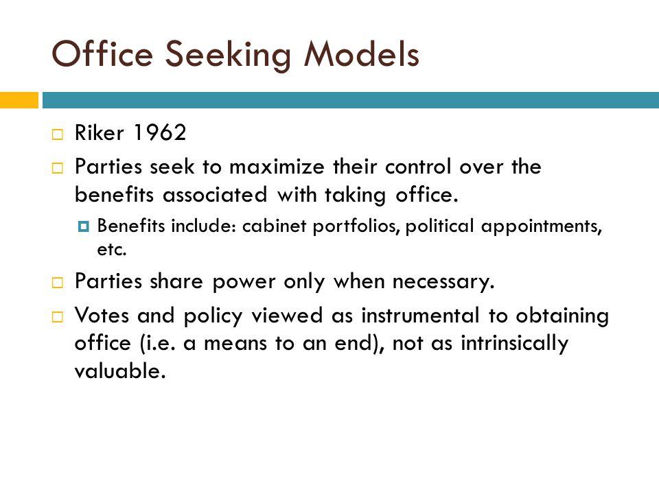 Office Seeking Models Riker 1962