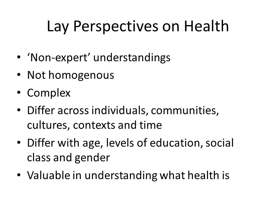 Lay Perspectives on Health