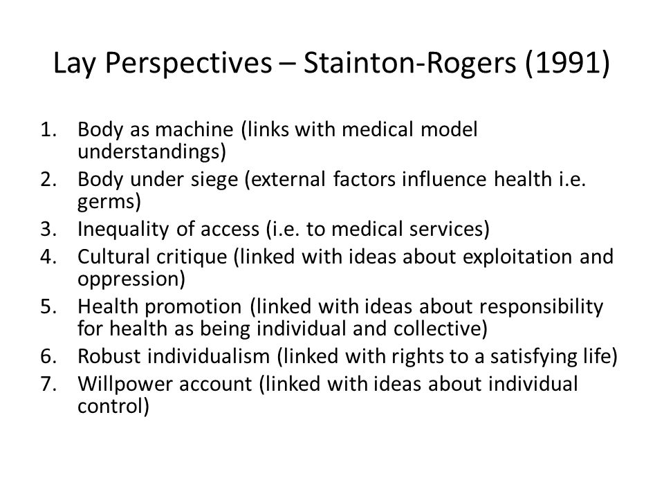 Lay Perspectives – Stainton-Rogers (1991)