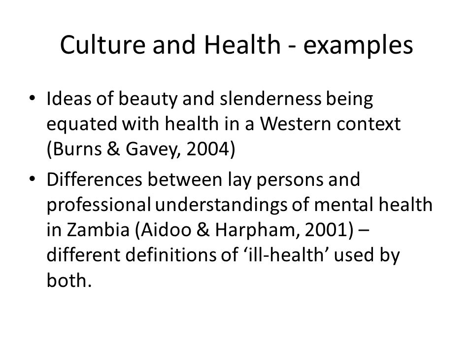 Culture and Health - examples