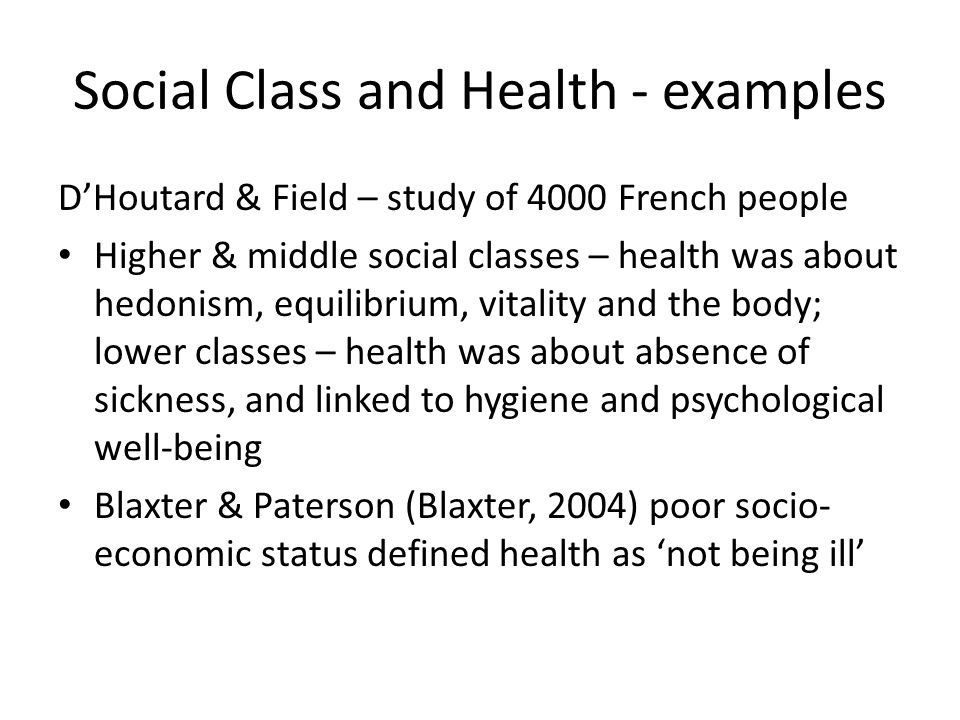 Social Class and Health - examples