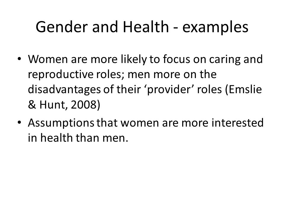 Gender and Health - examples
