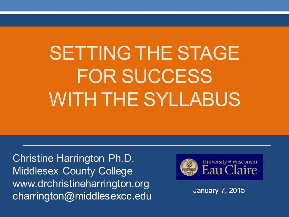 Setting the stage for success with the syllabus