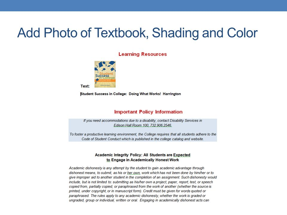Add Photo of Textbook, Shading and Color