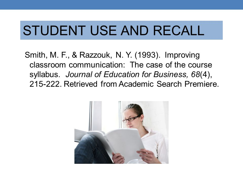 STUDENT USE AND RECALL