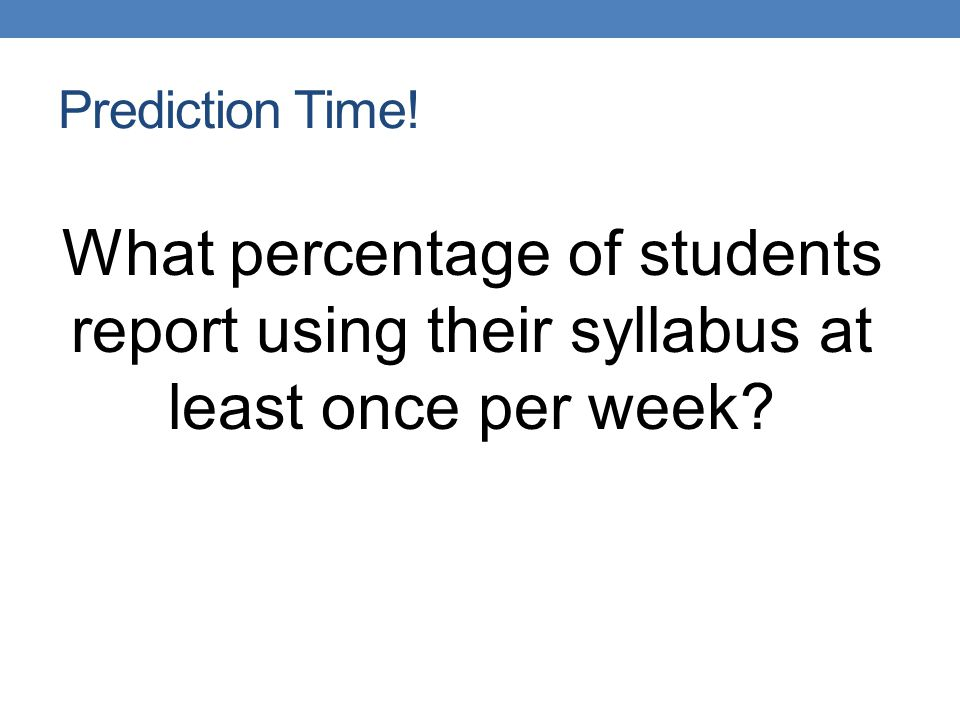 Prediction Time! What percentage of students report using their syllabus at least once per week