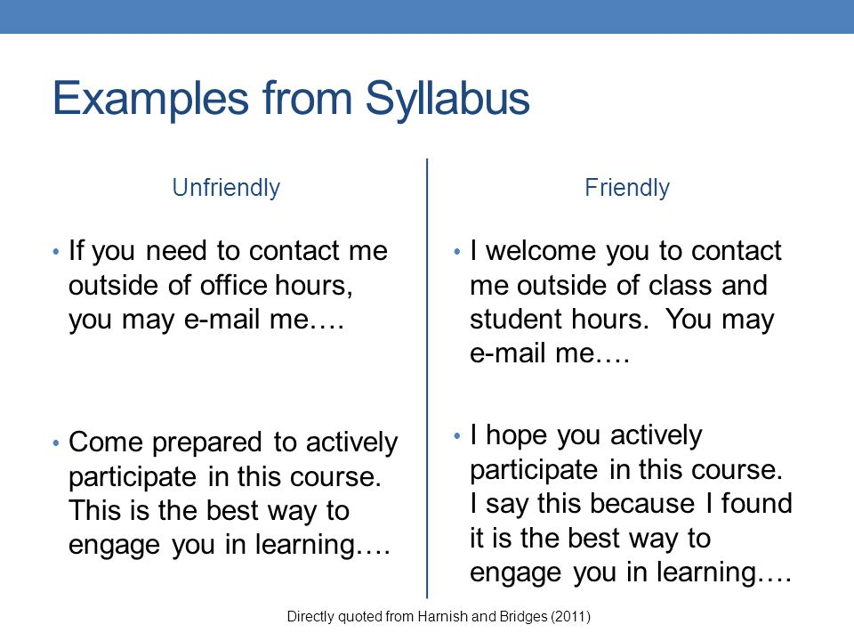 Examples from Syllabus