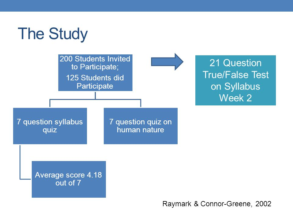 The Study 21 Question True/False Test on Syllabus Week 2