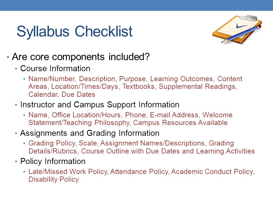 Syllabus Checklist Are core components included Course Information