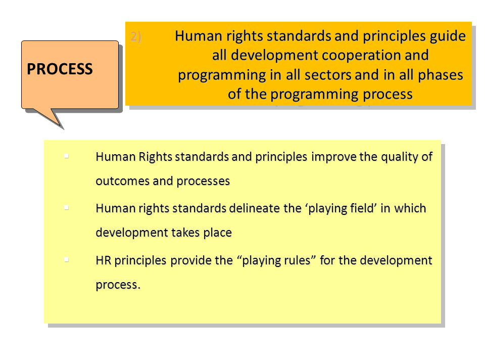 2) Human rights standards and principles guide all development cooperation and programming in all sectors and in all phases of the programming process