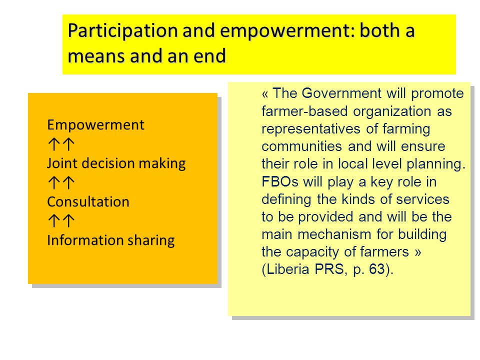 Participation and empowerment: both a means and an end