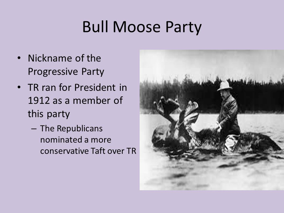 Bull Moose Party Nickname of the Progressive Party