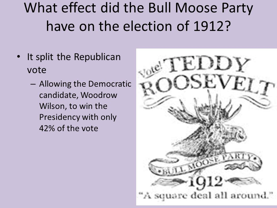 What effect did the Bull Moose Party have on the election of 1912