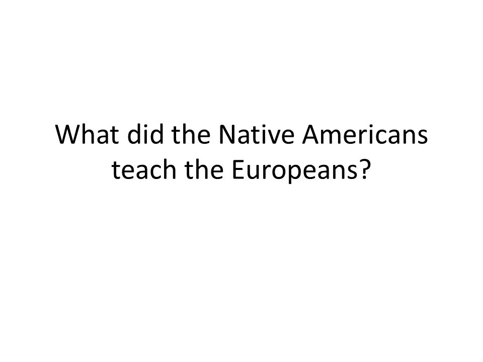 What did the Native Americans teach the Europeans