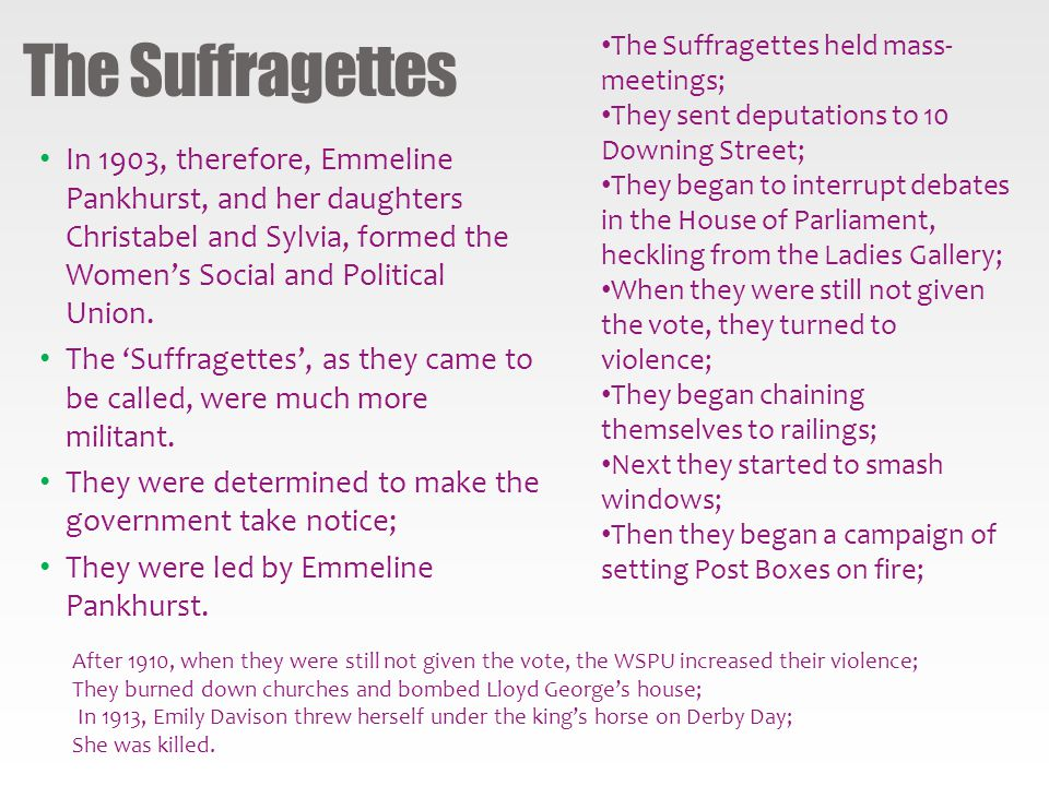 The Suffragettes The Suffragettes held mass-meetings; They sent deputations to 10 Downing Street;