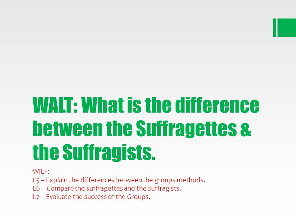 WALT: What is the difference between the Suffragettes & the Suffragists.