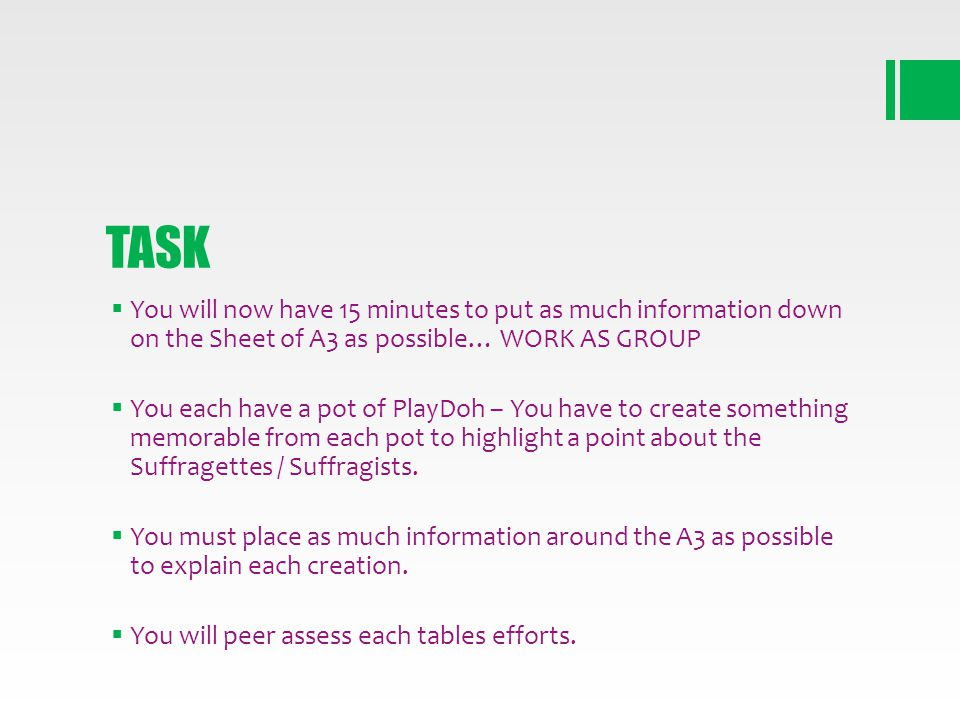 TASK You will now have 15 minutes to put as much information down on the Sheet of A3 as possible… WORK AS GROUP.