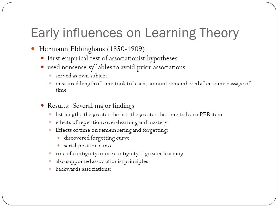 Early influences on Learning Theory