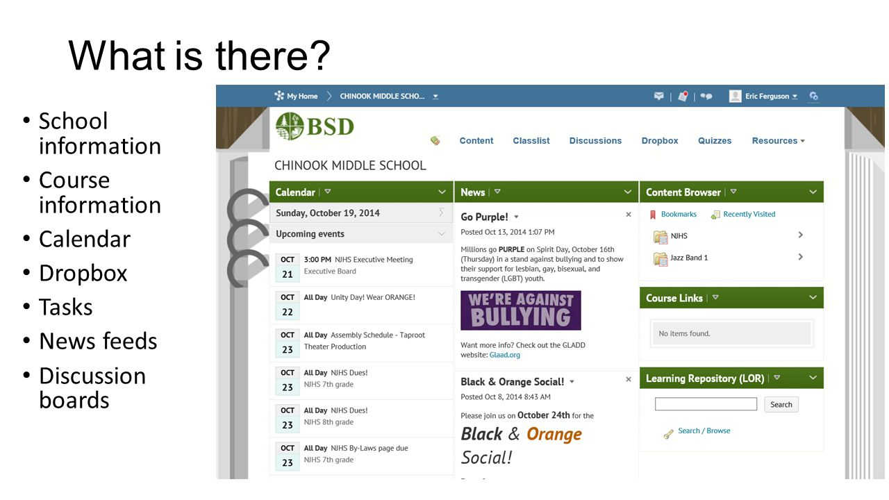 What is there School information Course information Calendar Dropbox