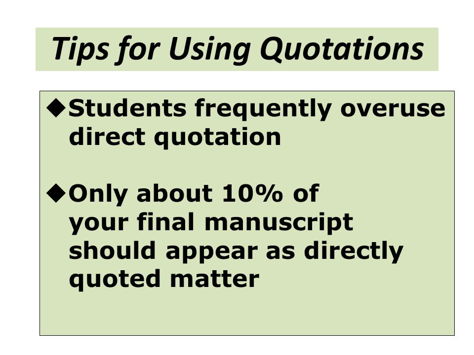 Tips for Using Quotations