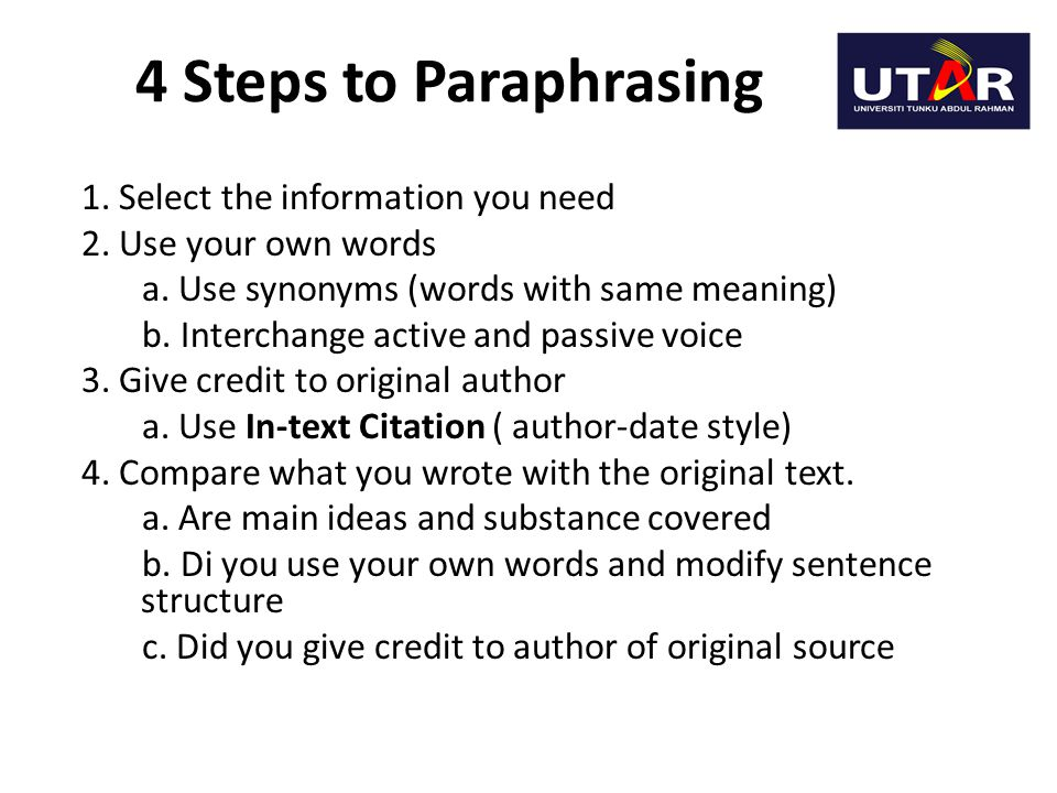 4 Steps to Paraphrasing