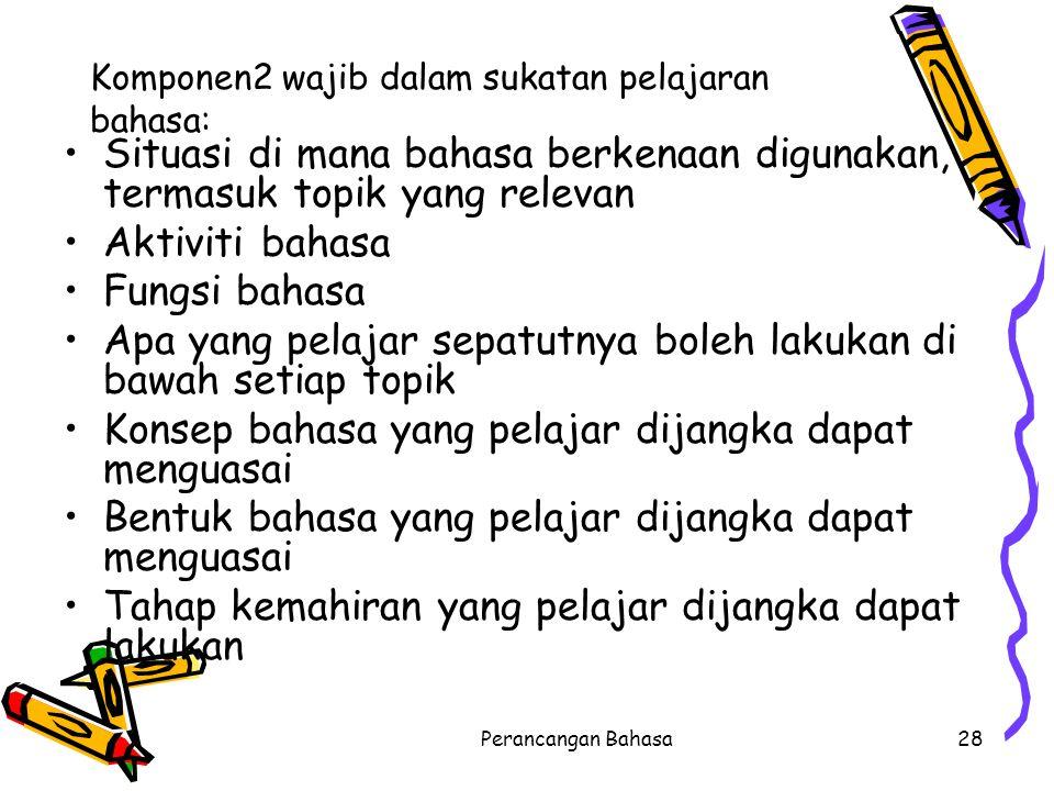 Komponen2 wajib dalam sukatan pelajaran bahasa: