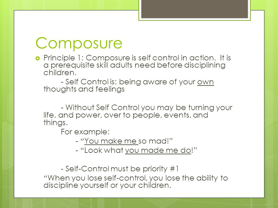 Composure Principle 1: Composure is self control in action. It is a prerequisite skill adults need before disciplining children.