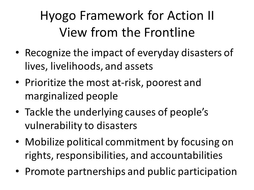 Hyogo Framework for Action II View from the Frontline