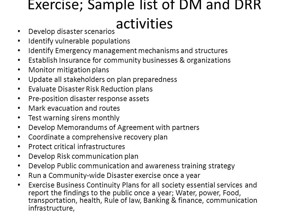 Exercise; Sample list of DM and DRR activities