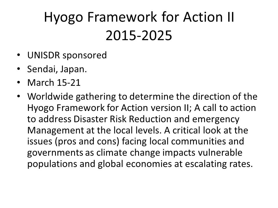 Hyogo Framework for Action II 2015-2025