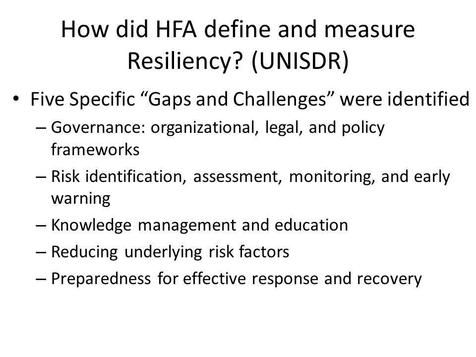 How did HFA define and measure Resiliency (UNISDR)